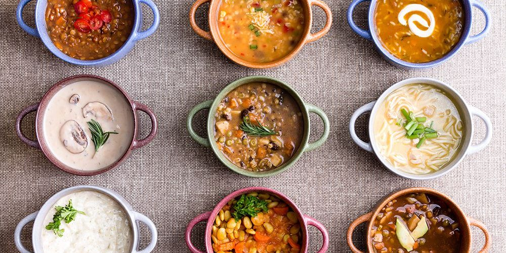 9 Different Soups in Pots